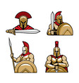 spartan warrior character mascots cartoon vector image