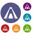 tepee icons set vector image vector image