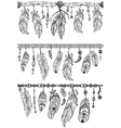 Tribal theme with feathers and Pattern brush vector image vector image
