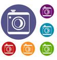 vintage photo camera icons set vector image vector image