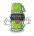 with virtual reality thermos character cartoon vector image