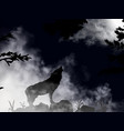 wolf howling at moon inside deep dark vector image