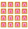 arch types icons set pink square vector image vector image