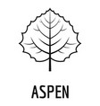 aspen leaf icon simple black style vector image