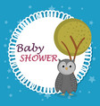 baby shower card with cute owl vector image vector image