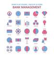 bank management icon dusky flat color - vintage vector image