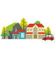 big house with red car in front vector image vector image