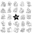 black and white christmas cartoons set vector image