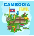 Cambodia Cultural Travel Map Flat Poster vector image