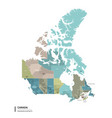 canada higt detailed map with subdivisions vector image vector image