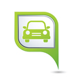 car icon on green map pointer vector image