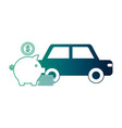 car sedan with pig money silhouette isolated icon vector image vector image