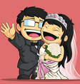 Cartoon of Wedding Bride Groom vector image vector image