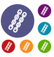 chains icons set vector image vector image