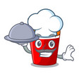 chef with food fried chicken in big cartoon bucket vector image