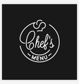 chefs menu logo round linear logo chef hat vector image