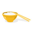 chinese chopsticks and plate with rice or noodles vector image vector image