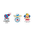 circus logo collection carnival and circus show vector image