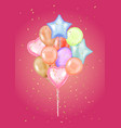 colorful bunch birthday balloons flying for vector image
