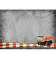 construction texture with orange tape and truck vector image vector image