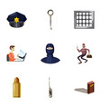 crime icons set cartoon style vector image vector image