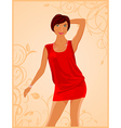 cute fashion girl on floral background vector image