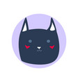 dark blue cute cartoon style cat in shape of grey vector image vector image