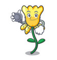doctor daffodil flower character cartoon vector image vector image