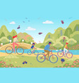 eco clean transportation with people on bicycles vector image