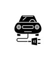 electric car black icon sign on isolated vector image vector image