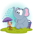 elephant pours water on mouse vector image
