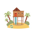 elevated wooden beach house on piling stilts vector image vector image
