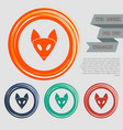 fox icon on red blue green orange buttons vector image vector image