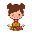 girl with burger bacon and french fries vector image