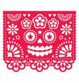 halloween papel picado design with catrina skull vector image