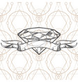 Hand drawn diamond and ribbon outline for tattoos