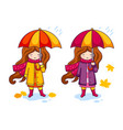 hand drawn little girl with colorful umbrella and vector image