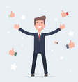 happy and proud businessman with many thumbs up vector image