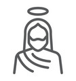 jesus line icon christianity and god christ sign vector image vector image