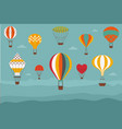 landscape with vintage hot air balloons vector image