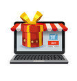 laptop noteebok with red gift box online vector image vector image