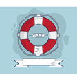 Life Bouy In Summer With Ribbon Flat Design vector image vector image