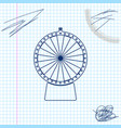 lucky wheel line sketch icon isolated on white vector image