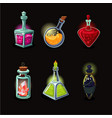 magic bottle set game design icons set vector image