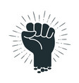 male clenched fist logo or label power force vector image vector image