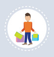 man hold colorful packages paper bags shopping vector image