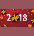 marry christmas and happy new year banner on red vector image vector image