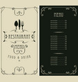 menu for restaurant with price list and flatware vector image vector image