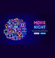 movie neon banner design vector image vector image