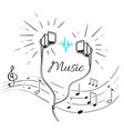 music headphones with sounds and notation sketch vector image